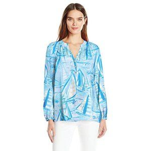 Lilly Pulitzer Women's Elsa Top Aboat time XS